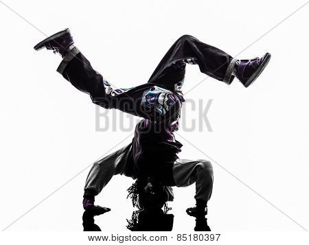 one hip hop breakdancer breakdancing handstand man silhouette white background