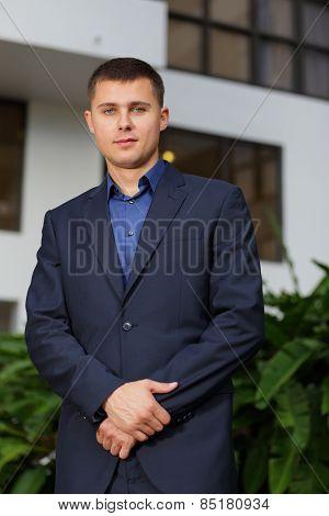 Businessman in a blue suit