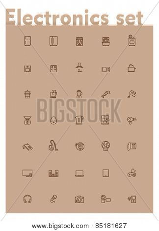 Set of the home electronics and appliances related icons