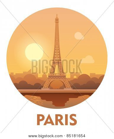 Vector icon representing Paris as a travel destination