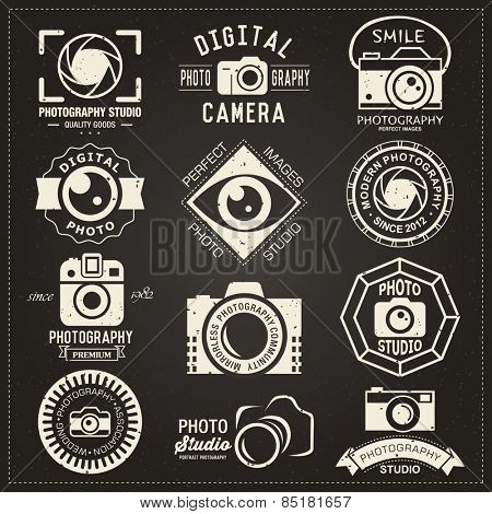 Photography vintage retro badges, labels and icons collection.  Vector photography logo templates and logotypes.