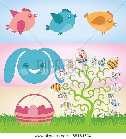 Vector Easter elements rabbit, eggs, cake, chicken