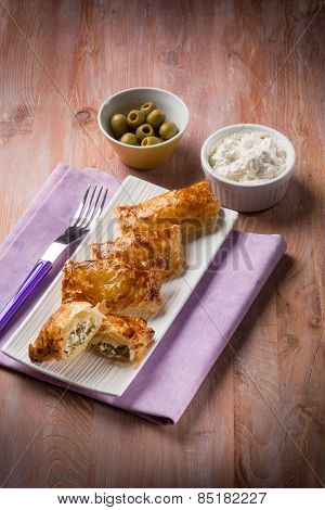 little strudel filled with ricotta and olives