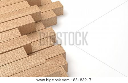 3d wooden beam and white copyspace
