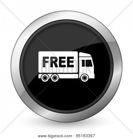 free delivery black icon transport sign