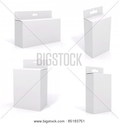 3d blank product package box, on white