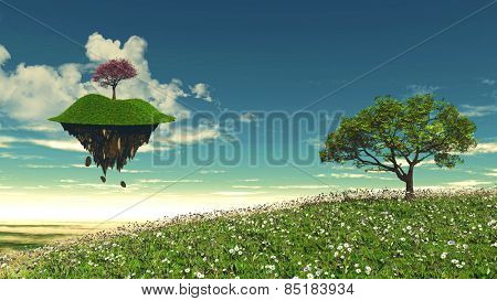 3D render of a floating island with a tree landscape
