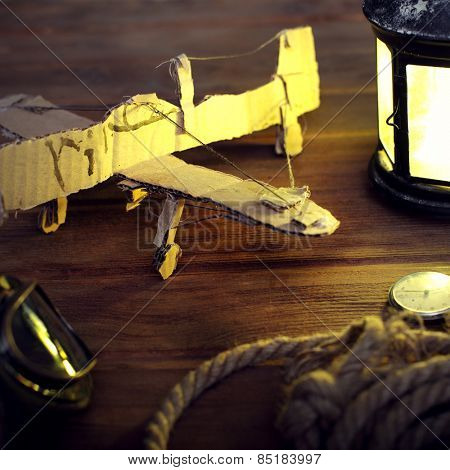 hand made children airplane on wood table