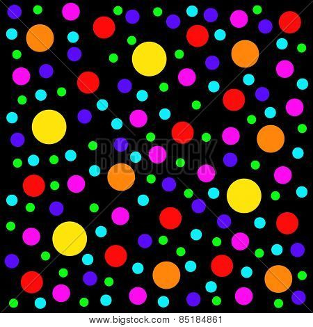 Multicolored dots scattered on a black background.