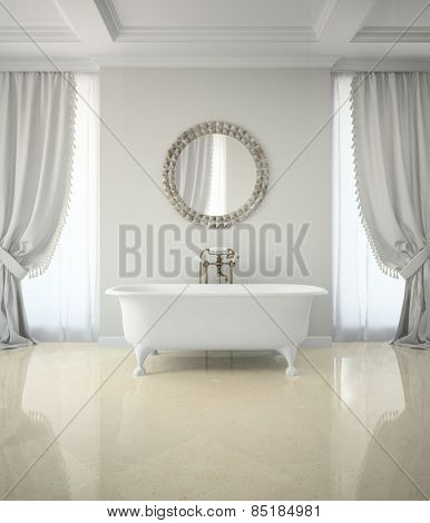 Interior of classic bathroom with curtains round mirror 3D rendering