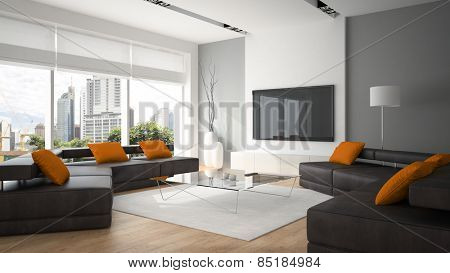 Modern interior with two sofas and orange pillows 3D rendering