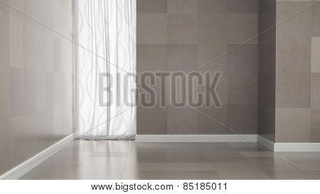 Empty room with granite tile walls 3D rendering