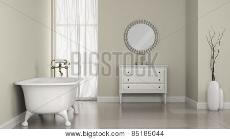Interior of classic bathroom with round mirror and vases 3D rendering