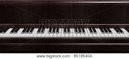 Dark brown piano keys front view, closeup background