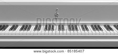 Front view of white piano keys, closeup background