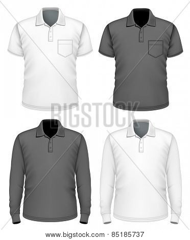 Men's polo shirt short and long sleeve. Vector illustration.
