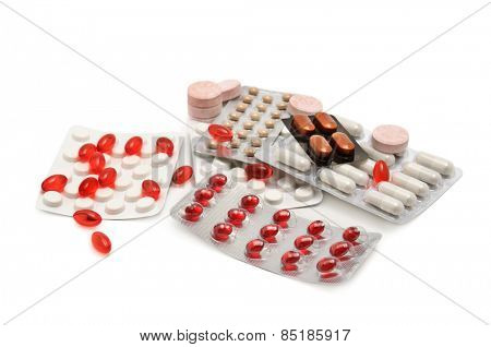 Collection medication isolated on white background.