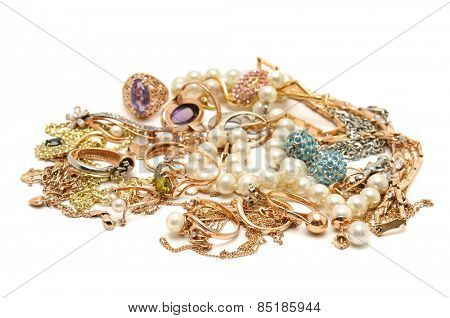Gold ornaments isolated on white background