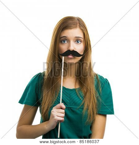 Portrait of a beautiful girl with a mustache isolated on white background