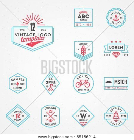 Vector vintage logo templates set.