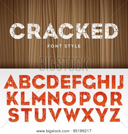 Vector latin alphabet with cracked paint effect