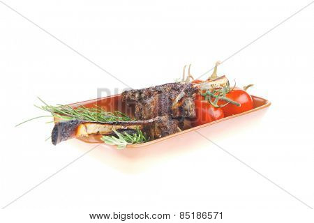 savory course: grilled ribs with fresh raw cherry tomatoes and chives