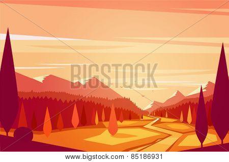 Sunset landscape. Vector illustration.