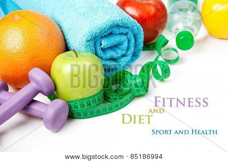 Fitness and diet, healthy food on a white background