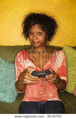African-american Woman Plays Video Game