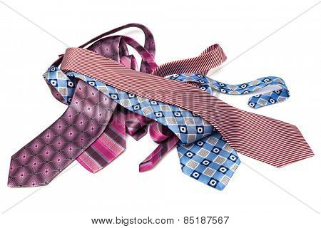 modern beautiful ties on a white background