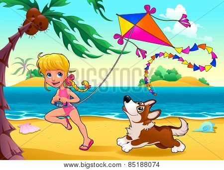 Funny scene with girl and dog on the beach. Vector cartoon illustration