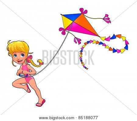 Happy girl is playing with kite. Cartoon vector isolated character.