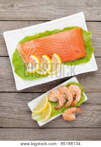 Fresh sea food on wooden table