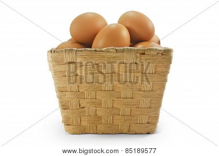 eggs in rattan basket