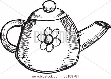 Doodle Sketch Tea Pot Vector Illustration Art