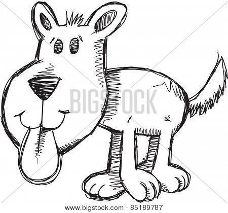 Doodle Sketch Puppy Dog Vector Illustration Art