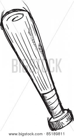 Doodle Sketch Baseball Bat Vector Illustration Art