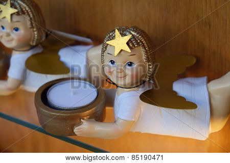 ST. WOLFGANG, AUSTRIA - DECEMBER 14: Angel, Christmas decoration shop in St. Wolfgang on Wolfgangsee in Austria on December 14, 2014.