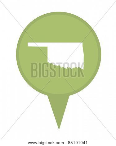 American state of Oklahoma marker pin isolated on a white background.