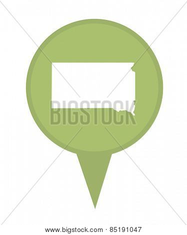 American state of South Dakota marker pin isolated on a white background.