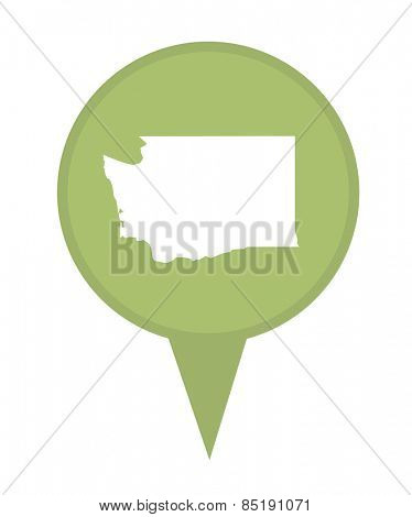 American state of Washington marker pin isolated on a white background.