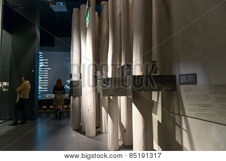 WARSAW, POLAND - MARCH 8: Museum of the History of Polish Jews, built in years 2009-2013, documents the millennial tradition of Jews in Poland in Warsaw Poland onMarch 8, 2015