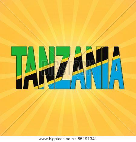 Tanzania flag text with sunburst illustration