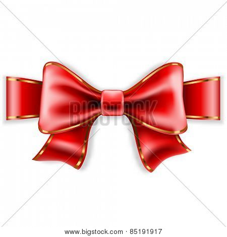 Red Bow Isolated on White Background. Illustration.