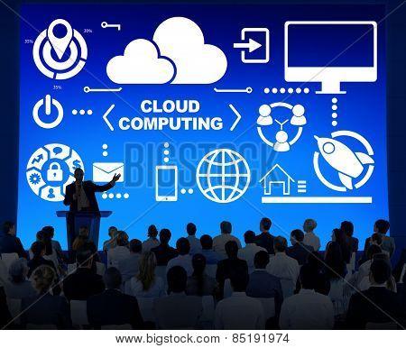 Business People Seminar Global Communications Cloud Computing Concept