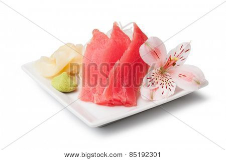 tuna sashimi with withe plate isolated on white background