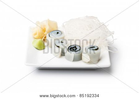 squid sashimi with withe plate isolated on white background