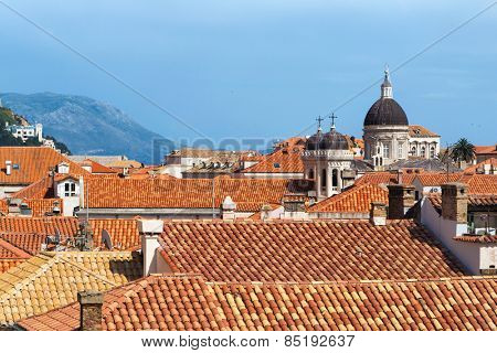 DUBROVNIK, CROATIA - MAY 26, 2014: View on Old city rooftops and church towers.