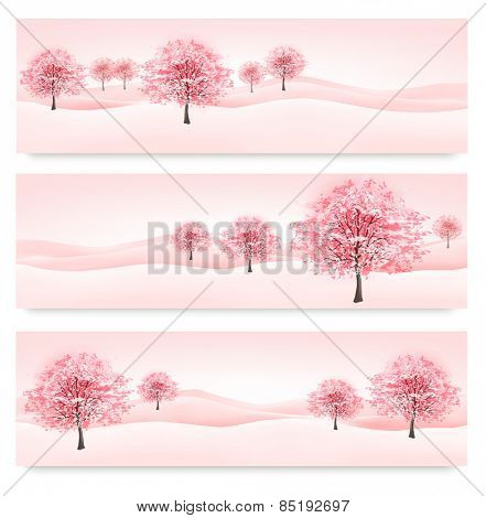 Three spring banners with blossoming sakura trees.