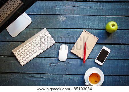 Desktop and supplies